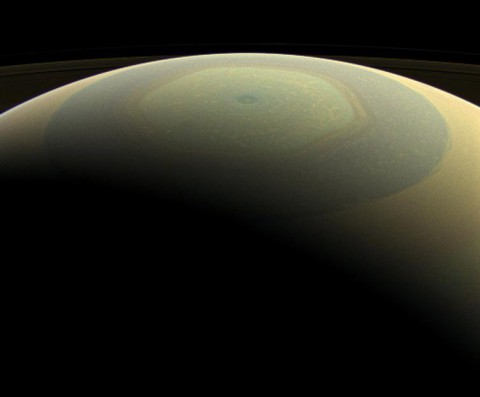 The globe of Saturn, seen here in natural color, is reminiscent of a holiday ornament in this wide-angle view from NASA's Cassini spacecraft. (NASA/JPL-Caltech/Space Science Institute)