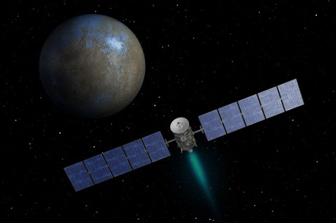 This artist's concept shows NASA's Dawn spacecraft heading toward the dwarf planet Ceres. Dawn spent nearly 14 months orbiting Vesta, the second most massive object in the main asteroid belt between Mars and Jupiter, from 2011 to 2012. It is heading towards Ceres, the largest member of the asteroid belt. When Dawn arrives, it will be the first spacecraft to go into orbit around two destinations in our solar system beyond Earth. (NASA/JPL-Caltech)