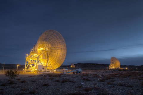 """Beam Wave Guide antennas at Goldstone, known as the """"Beam Waveguide Cluster."""" Each antenna is 111.5-feet (34-m) in diameter. They're located in an area at Goldstone called """"Apollo Valley."""" This photograph was taken on Jan. 11th, 2012. (NASA/JPL-Caltech)"""