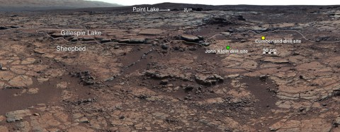 """This mosaic of images from Curiosity's Mast Camera (Mastcam) shows geological members of the Yellowknife Bay formation, and the sites where Curiosity drilled into the lowest-lying member, called Sheepbed, at targets """"John Klein"""" and """"Cumberland."""" (NASA/JPL-Caltech/MSSS)"""