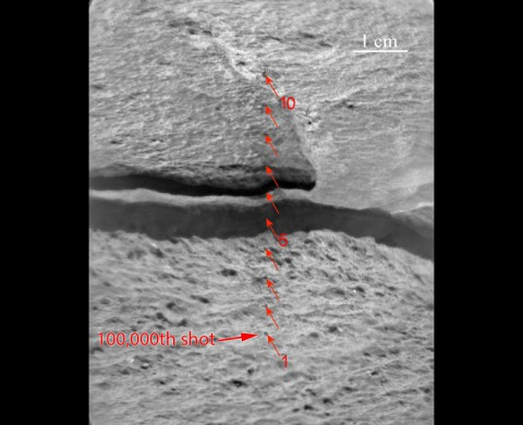 Since landing on Mars in August 2012, NASA's Curiosity Mars rover has fired the laser on its Chemistry and Camera (ChemCam) instrument more than 100,000 times at rock and soil targets up to about 23 feet (7 meters) away. (NASA/JPL-Caltech/LANL/CNES/IRAP/UNM)