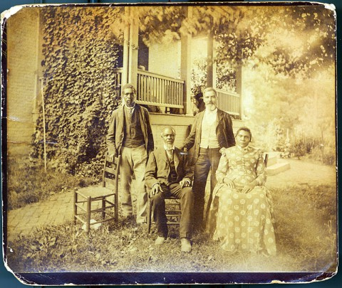 Allen, Emanuel, Granville, and Henny Washington, former slaves of the Wessyngton Plantation in Robertson County, taken about 1890, courtesy of John Baker.