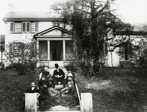 "George A. and Jane Washington and family posing on the front steps of the Wessyngton ""big house,"" about 1880. (Courtesy of the Tennessee State Library and Archives)"