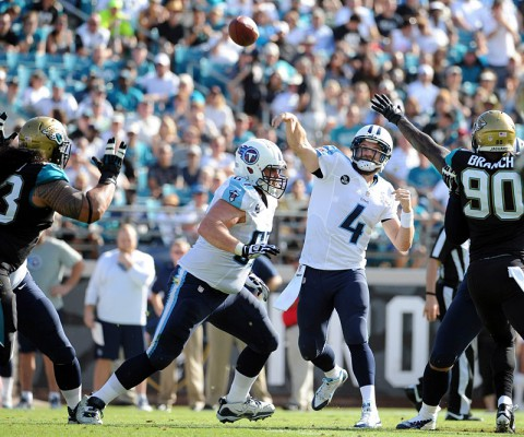 Tennessee Titans quarterback Ryan Fitzpatrick (4) throws the ball during the first half of the game against the Jacksonville Jaguars at EverBank Field. (Melina Vastola-USA TODAY Sports)