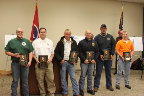 Volunteer Firefighters Recognized. Pictured: (L to R) Shawn Frieler, Eric Gregory, Jeremy Black, Kevin Douglas, Austin Wilson, and Kevin Batson. (Montgomery County Government)