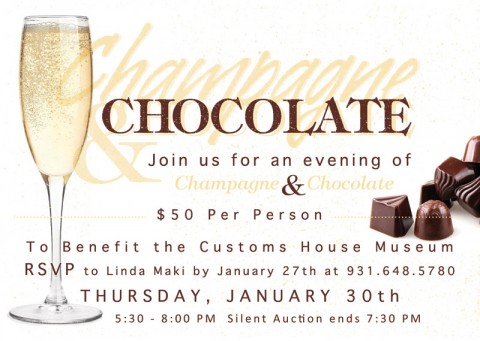 5th Annual Champagne and Chocolate Fundraiser for Clarksville's Customs House Museum.