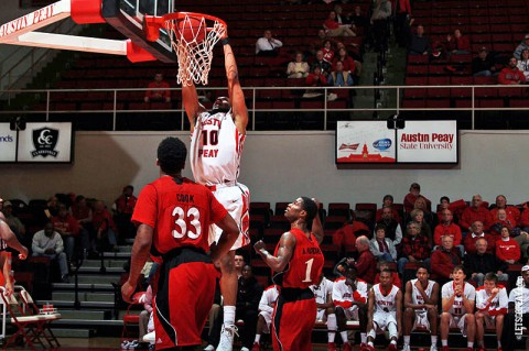 Austin Peay Men's Basketball lose to Jacksonville State. (Brittney Sparn/APSU Sports Information)