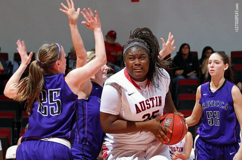 Austin Peay Sophomore center Tearra Banks, a 2013-14 OVC All-Freshman team selection, is one of 10 returning letterwinners as the Lady Govs begin preseason practice, Sunday. (APSU Sports Information)