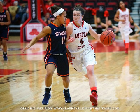 Austin Peay Women's Basketball falls to UT Martin despite career high 34 points from Kristen Stainback. (Michael Rios Clarksville Sports Network)