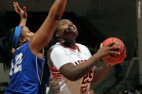 Austin Peay Women's Tearra Banks scores 17 points in loss to Murray State Racers. (APSU Sports Information)