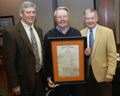 Bill Dance is pictured with TFWC Chairman Jeff McMillin (left) and TWRA Executive Director Ed Carter after he received a plaque with a resolution noting his many contributions that include the sport of fishing, the TWRA, and the state through the years. The honor came at the January meeting of the TFWC.