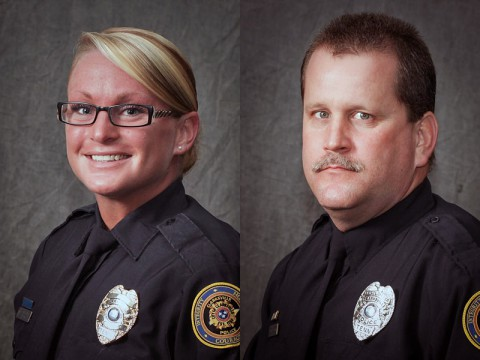 Clarksville Police Officer Heather Hill (left) and Officer Alex Koziol (right).