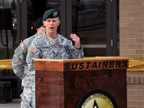 Col. David Dellinger, Fort Campbell's garrison commander, speaks at the grand opening ceremony for the Fort Campbell Defense Military Pay Office Jan. 16, at Fort Campbell. The new facility is a LEED certified building that incorporates numerous green features, which will help reduce energy and water consumption. (Sgt. Leejay Lockhart, 101st Sustainment Brigade Public Affairs)