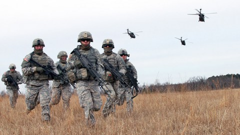 101st Sustainment Brigade soldiers hurry to create a secure perimeter during an air assault training mission at Fort Campbell, KY.  (U.S. Army photo by Sgt. Leejay Lockhart, 101st Sustainment Brigade Public Affairs)