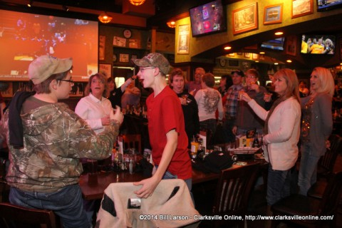 Clarksvillians welcoming in the New Year at the Tilted Kilt
