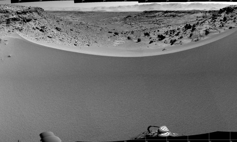 This mosaic of images from the Navigation Camera (Navcam) on NASA's Mars rover Curiosity shows the terrain to the west from the rover's position on the 528th Martian day, or sol, of the mission (Jan. 30, 2014). (NASA/JPL-Caltech)