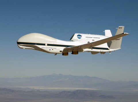 NASA's Global Hawk 872 on a checkout flight from Dryden Flight Research Center, Edwards, CA, in preparation for the 2014 ATTREX mission over the western Pacific Ocean. (NASA/Tom Miller)