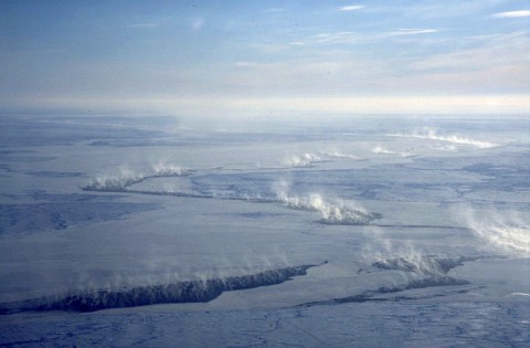 Cloud plumes from cracks of open water in the Arctic sea ice cover. (University of Hamburg, Germany)