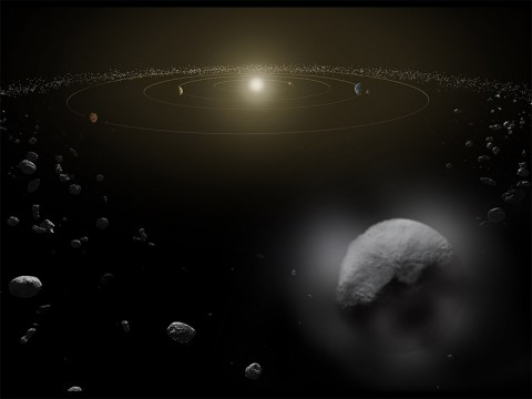 An artist's concept of Ceres with vaporous jets in the asteroid belt. (ESA/ATG medialab)