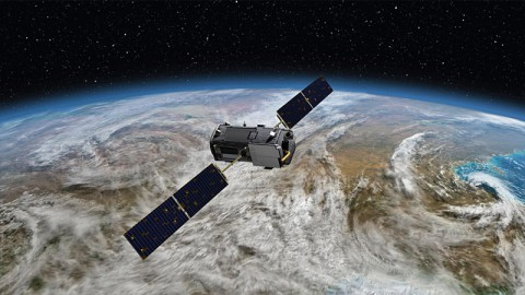 Artist's rendering of NASA's Orbiting Carbon Observatory (OCO)-2, one of five new NASA Earth science missions set to launch in 2014, and one of three managed by JPL. (NASA-JPL/Caltech)