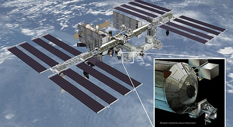 Artist's rendering of NASA's ISS-RapidScat instrument (inset), which will launch to the International Space Station in 2014 to measure ocean surface wind speed and direction and help improve weather forecasts, including hurricane monitoring. (NASA/JPL-Caltech/Johnson Space Center)