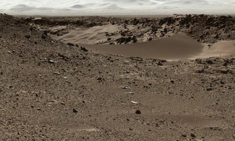 This scene combines images taken by the left-eye camera of the Mast Camera (Mastcam) instrument on NASA's Curiosity Mars rover during the midafternoon, local Mars solar time, of the mission's 526th Martian day, or sol (Jan. 28, 2014). (NASA/JPL-Caltech/MSSS)