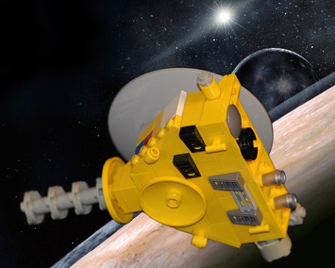 An artist's concept of the New Horizons spacecraft at Pluto.
