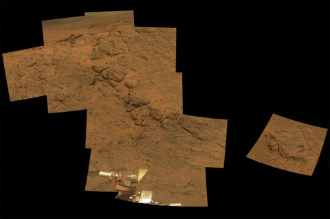 """NASA's Mars Exploration Rover Opportunity observed this outcrop on the """"Murray Ridge"""" portion of the rim of Endeavour Crater as the rover approached the 10th anniversary of its landing on Mars."""