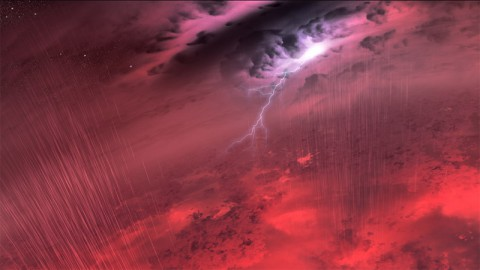 This artist's concept shows what the weather might look like on cool star-like bodies known as brown dwarfs. These giant balls of gas start out life like stars, but lack the mass to sustain nuclear fusion at their cores, and instead, fade and cool with time. (NASA/JPL-Caltech/University of Western Ontario/Stony Brook University)