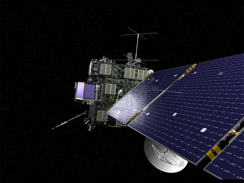 An artist's view of Rosetta, the European Space Agency's cometary probe with NASA contributions. (ESA)