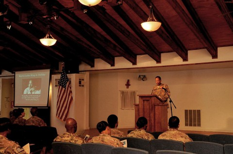 Col. Charles R. Hamilton, a native of Houston, and commander of the 101st Sustainment Brigade (Lifeliners), 101st Airborne Division (Air Assault), speaks during the Dr. Martin Luther King Jr. observance day, hosted by the 101st Airborne Division (Air Assault), Jan. 20, 2014, at Bagram Air Field, Parwan province, Afghanistan. (U.S. Army photo by Sgt. Sinthia Rosario, Task Force Lifeliner Public Affairs)