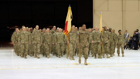 Col. Charles R. Hamilton, the commander of the 101st Sustainment Brigade, 101st Airborne Division (Air Assault), led Soldiers from the brigade home after a nine-month deployment to Afghanistan in support of Operation Enduring Freedom Feb. 15, at Fort Campbell. It was the third deployment for the brigade headquarters in five years. (Sgt. Leejay Lockhart, U.S. Army)