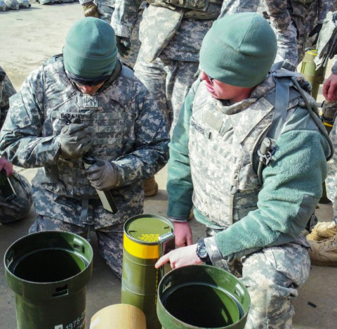 "Soldiers assigned to 591st Engineer Company, 3rd Special Troops Battalion, 3rd Brigade Combat Team ""Rakkasans,"" 101st Airborne Division (Air Assault), prepare explosive charges on a range here, Jan. 24, 2014. The 591st joined the Rakkasans in Jan. 2014 and have already spent a great deal of time at ranges to enhance their skill sets as combat engineers. (U.S. Army)"