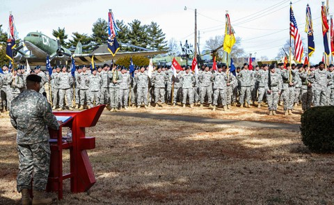 "Command Sgt. Maj. Walter Tagalicud, the senior enlisted advisor for 3rd Brigade Combat Team ""Rakkasans,"" 101st Airborne Division (Air Assault), addresses the attendees and Soldiers of the Rakkasan Activation Ceremony here Feb. 19, 2014. (Photo by Sgt. Brian Smith-Dutton, 3rd BCT Public Affairs)"