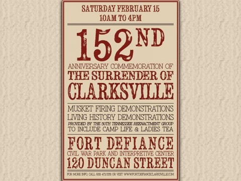 152nd Anniversary of the Surrender of Clarksville to be commemorated at Fort Defiance Interpretive Center