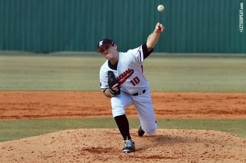 Senior Zach Hall will climb the mound, Friday at Baylor, in the Govs first road contest of the 2014 campaign. (Brittney Sparn/APSU Sports Information)