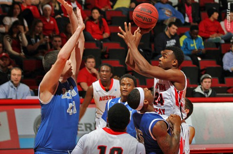 Austin Peay junior Ed Dyson gets first double-double against Eastern Illinois. (Brittney Sparn/APSU Sports Information)