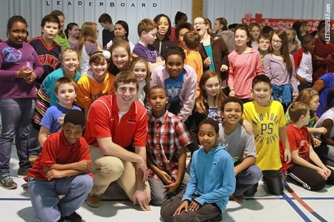 APSU Student Athletes stress education to elementary school students. (Brittney Sparn/APSU Sports Information)
