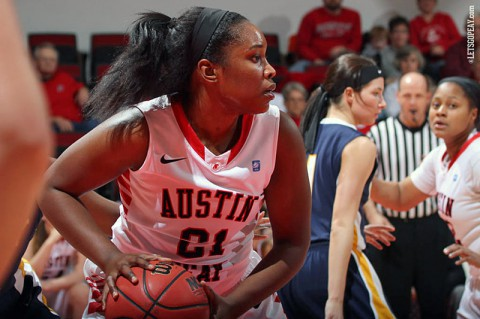 Sophomore Jennifer Nwokocha led APSU in scoring (15), rebounding (8) and steals (4) in Saturday's loss at Tennessee State. (Brittney Sparn/APSU Sports Information)