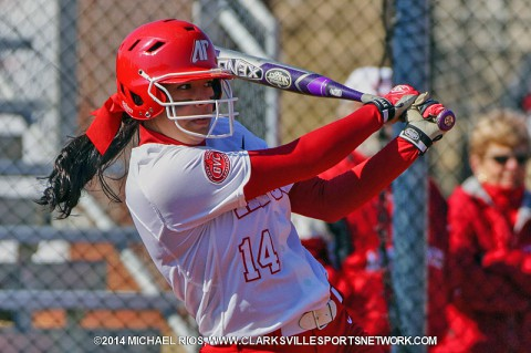 Austin Peay senior Lauren de Castro hits her first home run of the season to help Lady Govs win Game 1 vs. IUPUI 5-2. (Michael Rios-Clarkville Sports Network)