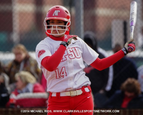 Austin Peay senior Lauren de Castro leads the Lady Govs with a .400 batting average and also leads the team with 21 RBI. (Michael Rios Clarksville Sports Network)