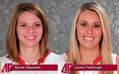 Austin Peay Women's Basketball seniors Nicole Olszewski and Lauren Yarbrough play their final game at the Dunn Center, Saturday.
