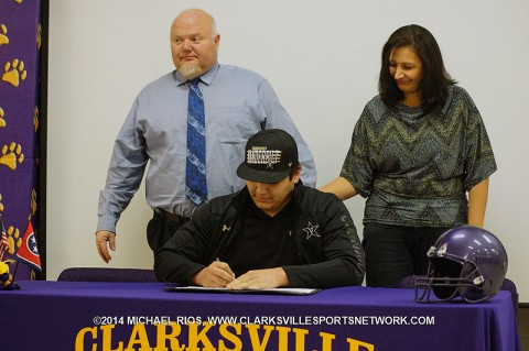 Clarksville High School football player Bruno Regan signs with Vanderbilt University.