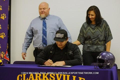 Clarksville High School football player Bruno Regan signs with Vanderbilt University.