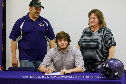 Clarksville High School football player Eyan Pope signs his national letter of intent with Kentucky Wesleyan.