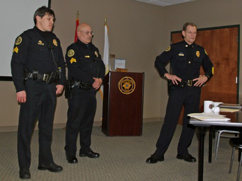 (left to right) Sergeant Javier Matiz, Sergeant David Galbraith, and Chief Al Ansley.