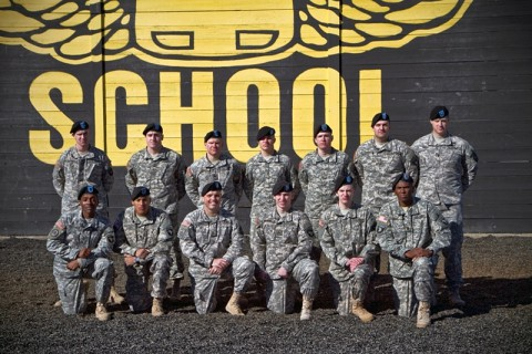 U.S. Army Command Sgt. Maj. Michael Dent (front row, right), command sergeant major of 801st Brigade Support Battalion, 4th Brigade Combat Team, 101st Airborne Division (Air Assault), poses with his fellow Currahees after graduating from the Fort Campbell Sabalauski Air Assault School, Jan. 24, 2014. (Sgt. Justin A. Moeller, 4th Brigade Combat Team Public Affairs)