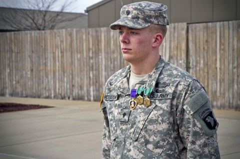Spc. Brian D. Messersmith, a soldier with Able Company, 1st Battalion, 506th Infantry Regiment, 4th Brigade Combat Team, 101st Airborne Division (Air Assault), received two Army Commendation Medals, one with a Valor device, as well as a Purple Heart, during a ceremony Feb. 7, 2014. (U.S. Army photo by Sgt. Justin A. Moeller, 4th Brigade Combat Team Public Affairs)