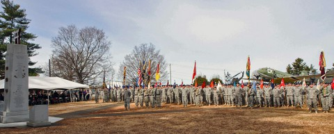 "The Soldiers of the 3rd Brigade Combat Team ""Rakkasans,"" 101st Airborne Division (Air Assault), stand assembled for the Rakkasan Activation Ceremony here Feb. 19, 2014. The ceremony was held to honor distinguished and honorary members of the regiment, the units past and future lineage and the welcome the incoming senior enlisted advisor of 3rd BCT in an Assumption of Responsibility Ceremony. (Photo by Sgt. Brian Smith-Dutton, 3rd BCT Public Affairs)"