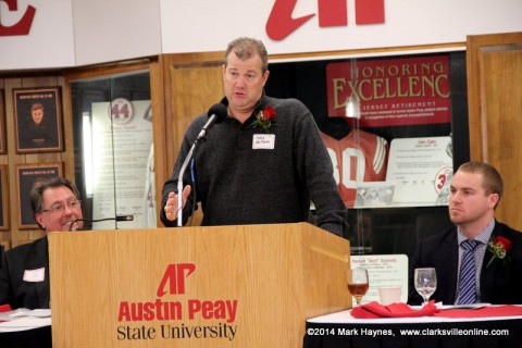 Gary McClure, APSU Head Baseball Coach presents Shawn Kelly.